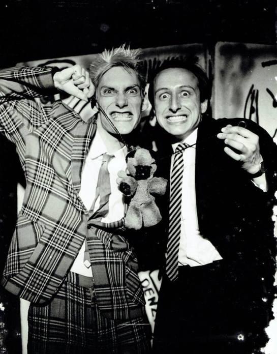 1984: in KGB Comedy Cabaret with Denzil Kilvington. Taken on set.