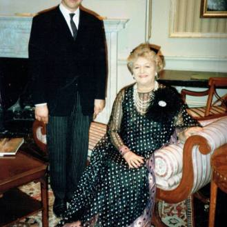 As Hopkins the butler. On set with Joan Sims at BBC Television Centre, London