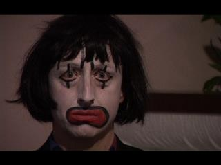As Clownface. Forever applying for unsuitable jobs. A still from the pilot.