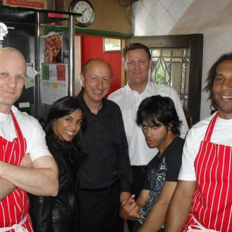 As Enzo Moretti, drug dealer. Cast photo after shoot. With Chris Walker, Fiona Wade and Tony Nasnath
