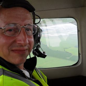 """In a four-seater plane shooting footage of Camber Castle for 'TAT - Tabaluga Abenteuer Team""""."""