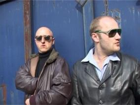 As Detective Dan Rat with Mo Kat. 'The Thriller Men' are trapped in the opening titles of their own cop show. A still from 'The Silent Treatment' pilot.
