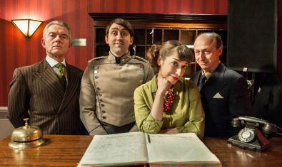 As Mr. Andrews, the hotel manager. With Nigel Barber, Joseph MacNab and Angela Christofilou