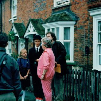 As Hopkins in 'Simon and the Witch'. On location in Beaconsfield with Joan Sims, Nicola Stapleton and director, David Bell