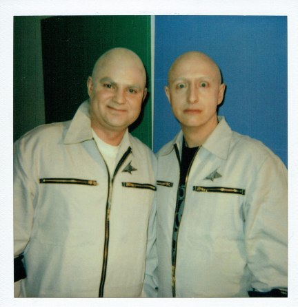 With Bert Koch as Space Travellers in a fantasy, performed live and on film at Frankfurt Airport Terminal Two. 75th anniversary event.