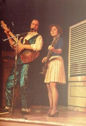 Two teachers dress up for their Christmas show. With Deb Kilvington